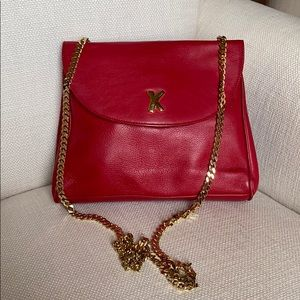 Paloma Picasso red purse with gold strap